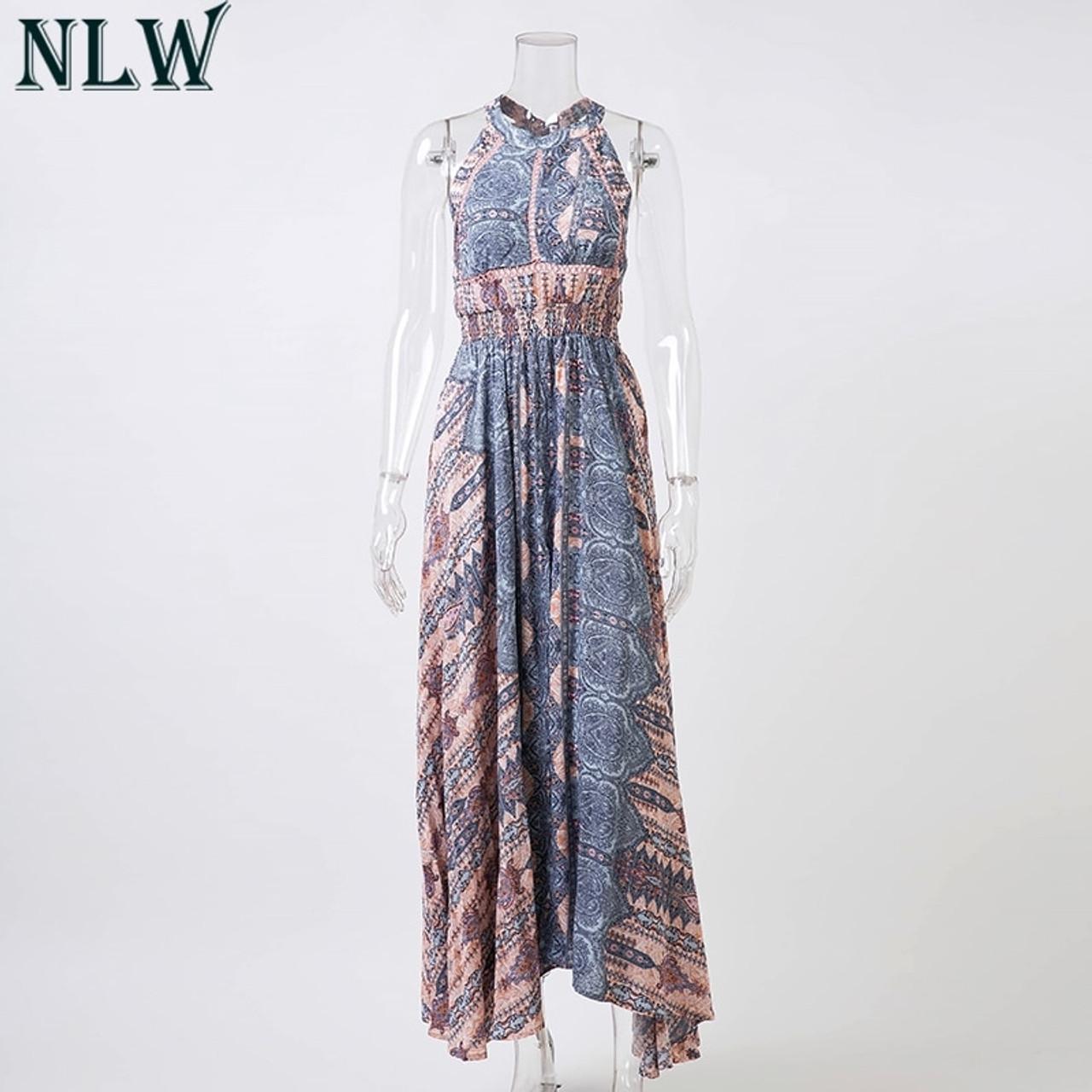 70ec03aba0c3 ... NLW Boho Blue Flower Maxi Dress Halter Summer Dress 2019 Women High  Split Backless Sexy Long ...