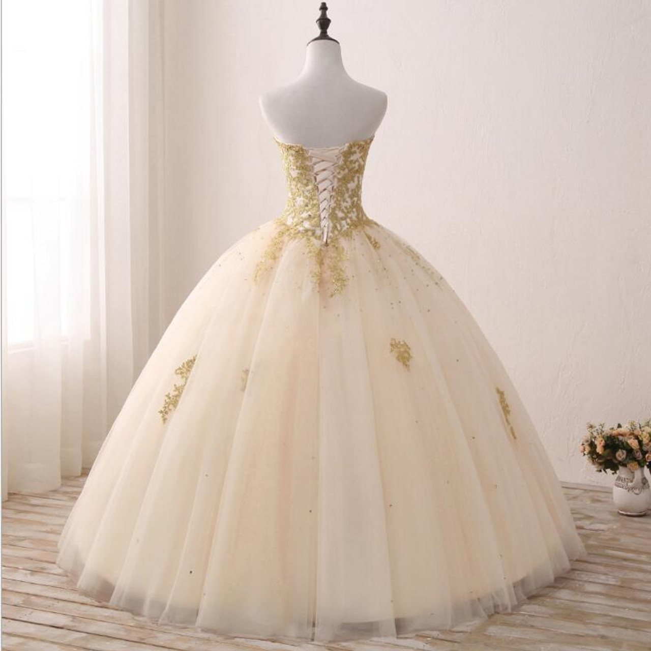 f10e3e5f0169d Fansmile Vintage Golden Lace Up Ball Wedding Dresses 2019 Real Photo Robe  de Mariee Customized Plus Size Bridal Gowns FSM-343F
