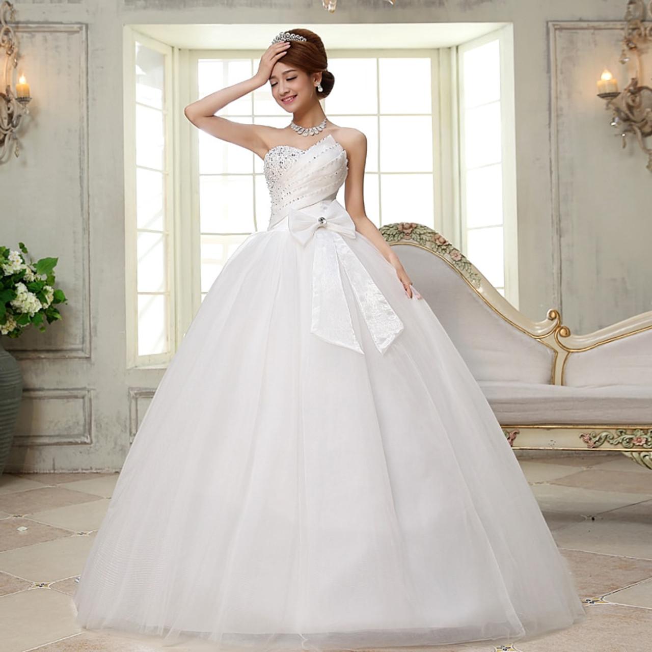 Lyg H27 Wholesale Plus Size Lace Up New Glass Diamond Bride Dresses Long Sweet Princess Wedding Dress 2019 Customize Wholesale Onshopdeals Com