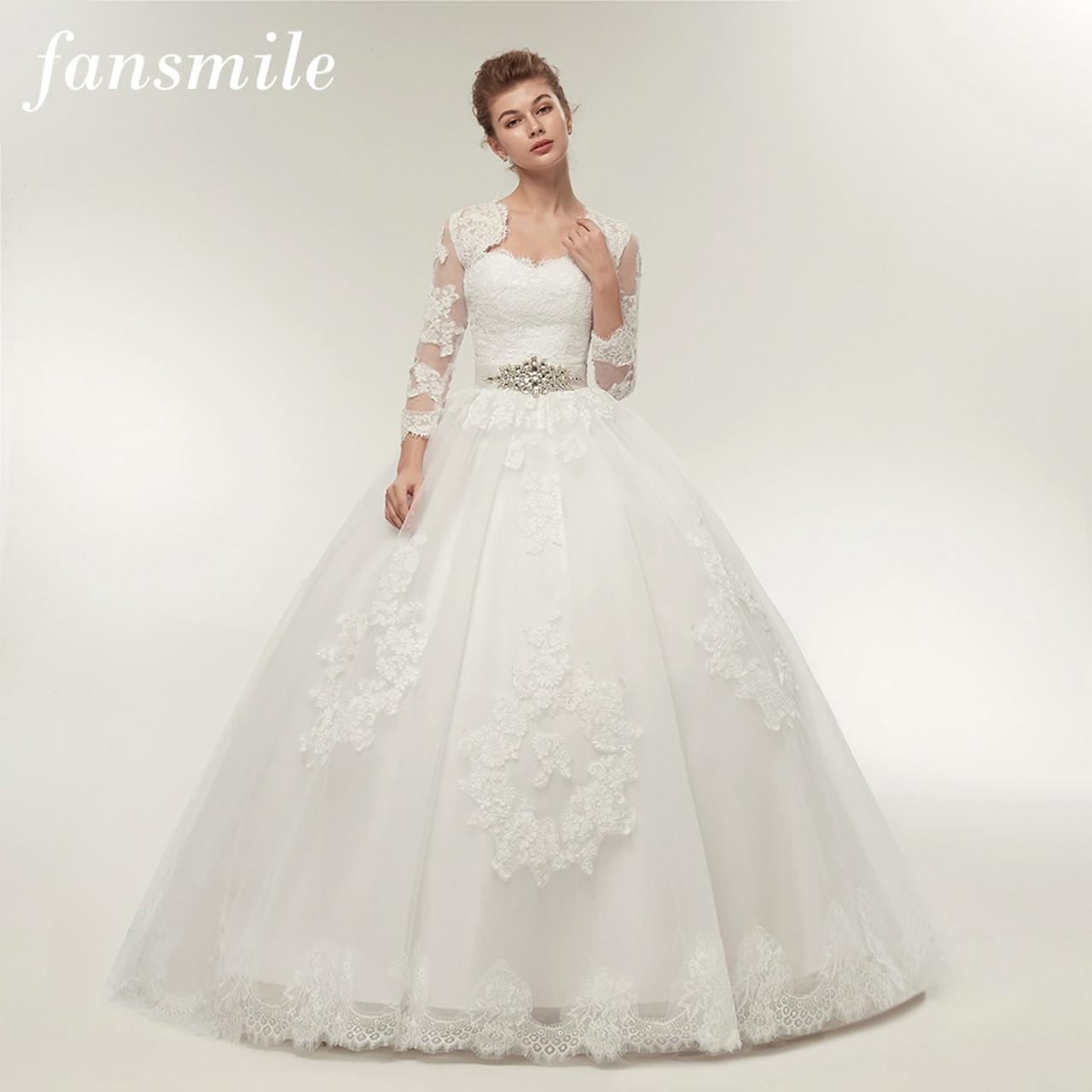Fansmile Two Piece Long Sleeve Jacket Wedding Dresses 2019 Plus Size Bridal Ball Gowns Vestido De Noiva Robe De Mariage Fsm 122t