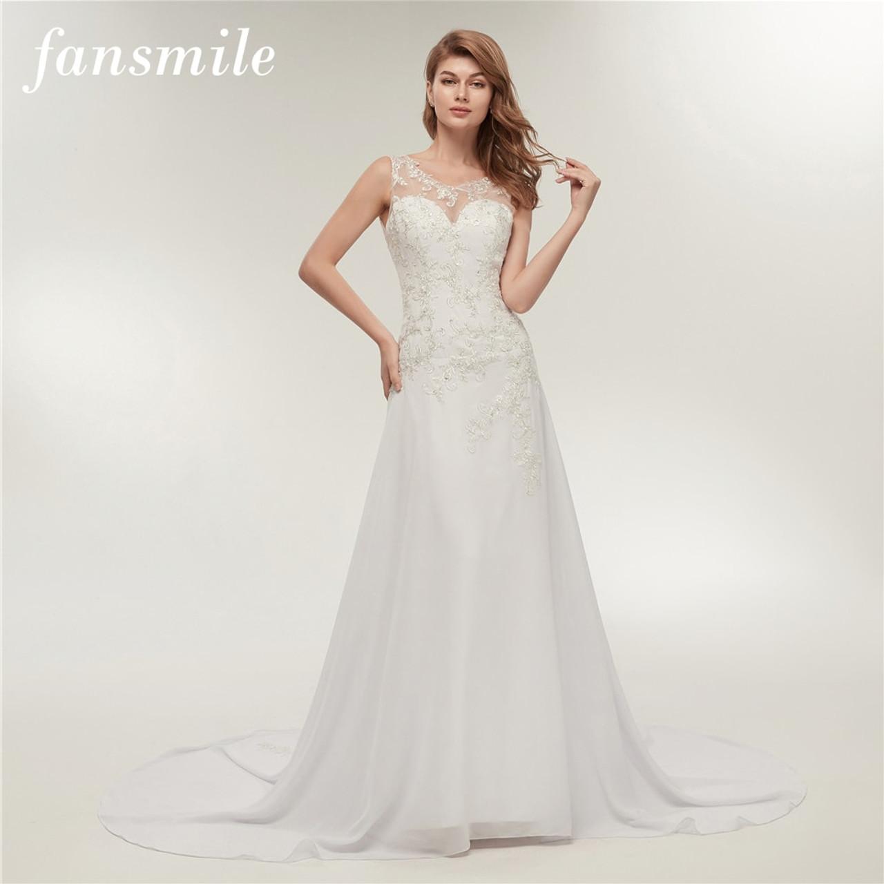 Fansmile Real Photo Embroidery Chiffon Beach Wedding Dress 2019 Vestidos De Novia Plus Size Bridal Gowns Fsm 237m