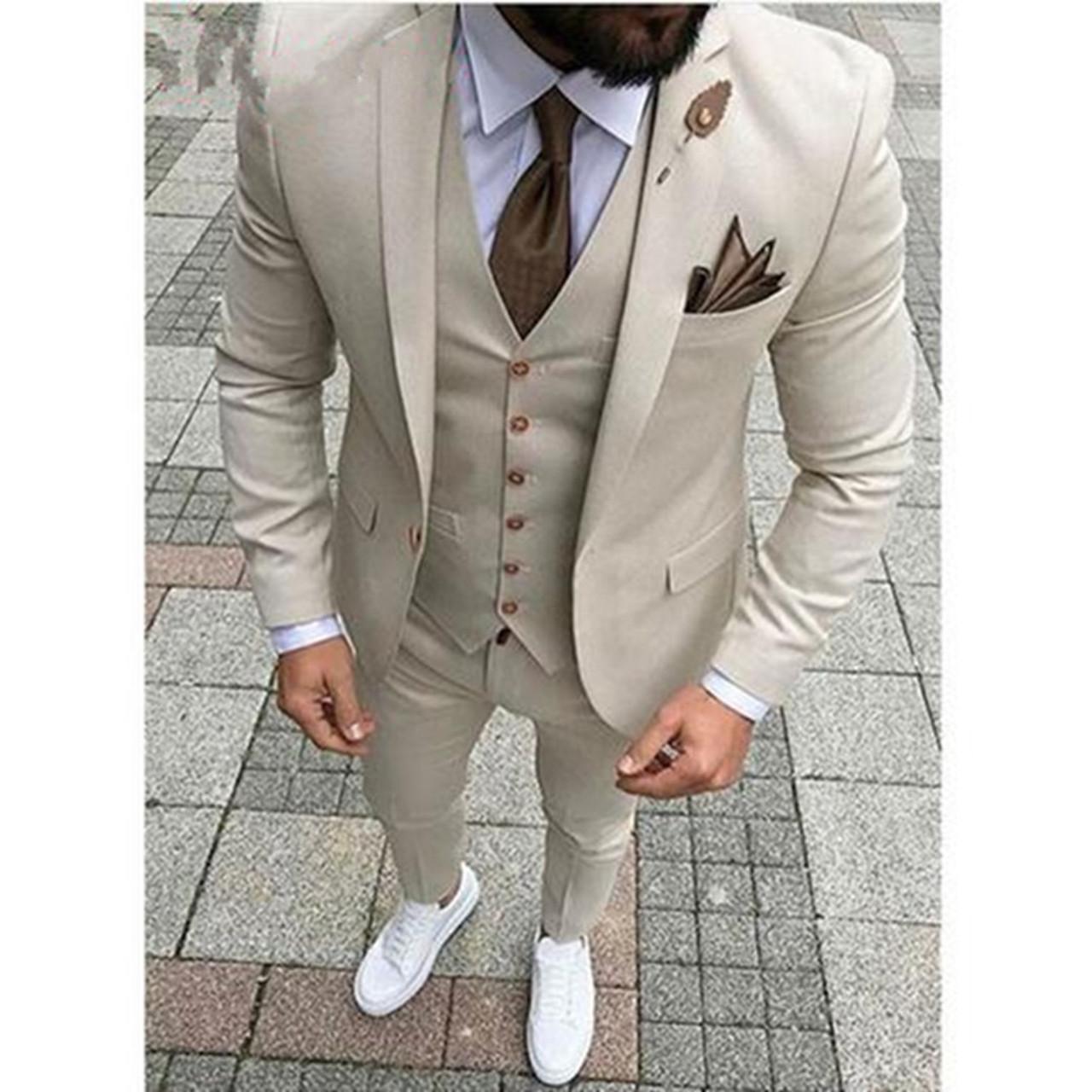 0fca6788b7611 2018 Latest Designs Beige Men Wedding Suit Groomsmen Tuxedo Slim Fit Three  Piece Groom Wear Mens Suits Custom Made