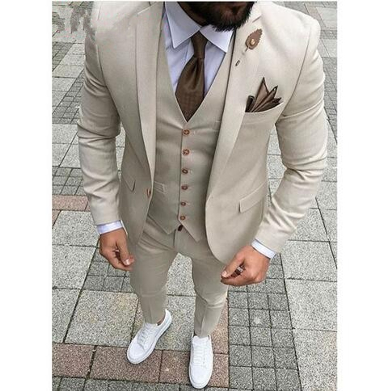 dd55836ea385 ... 2018 Latest Designs Beige Men Wedding Suit Groomsmen Tuxedo Slim Fit  Three Piece Groom Wear Mens ...