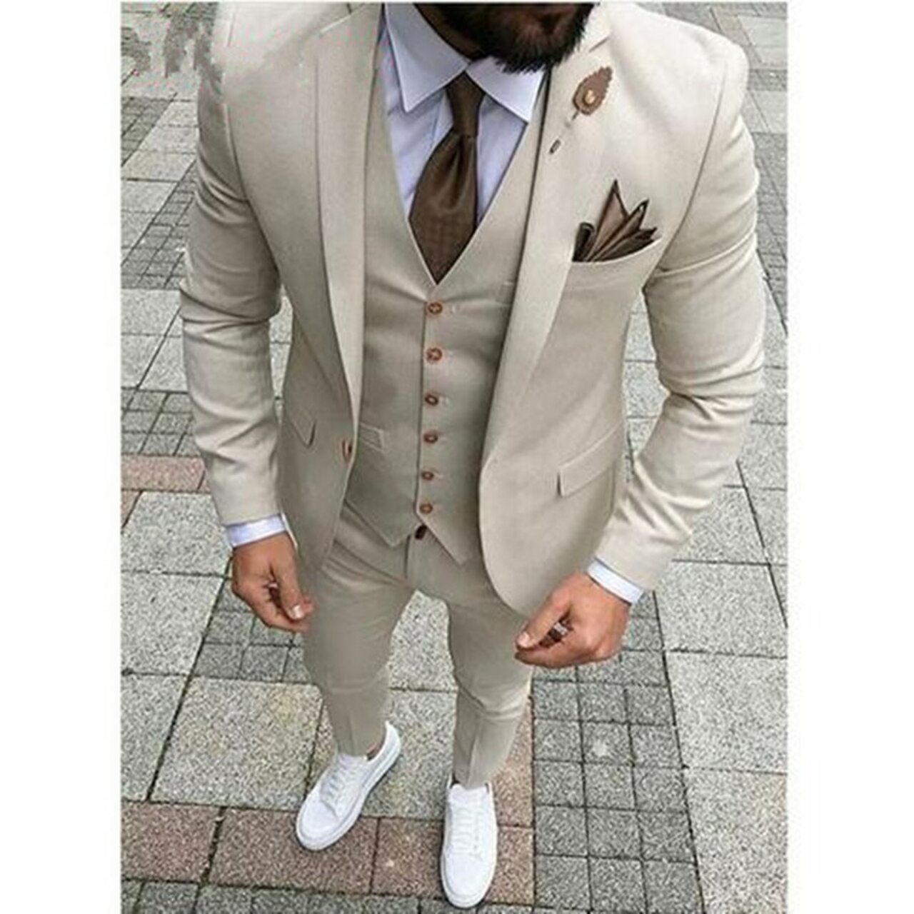 2018 Latest Designs Beige Men Wedding Suit Groomsmen Tuxedo Slim