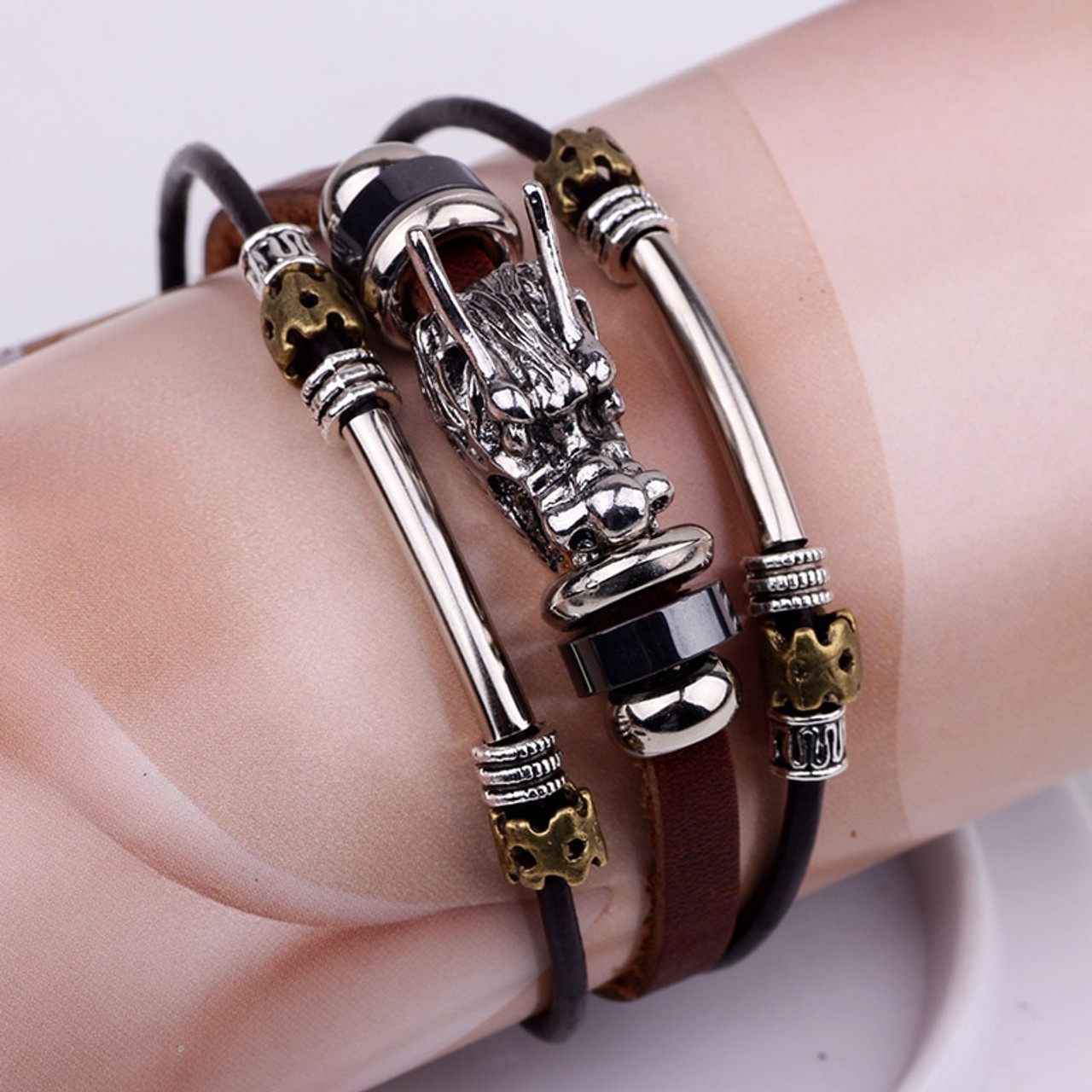 les ventes chaudes 031ff f2e50 bracelet men Accessoires homme 2018 Tibetan silver men leather bracelet  fashion male vintage parataxis dragon Multilayer jewelry