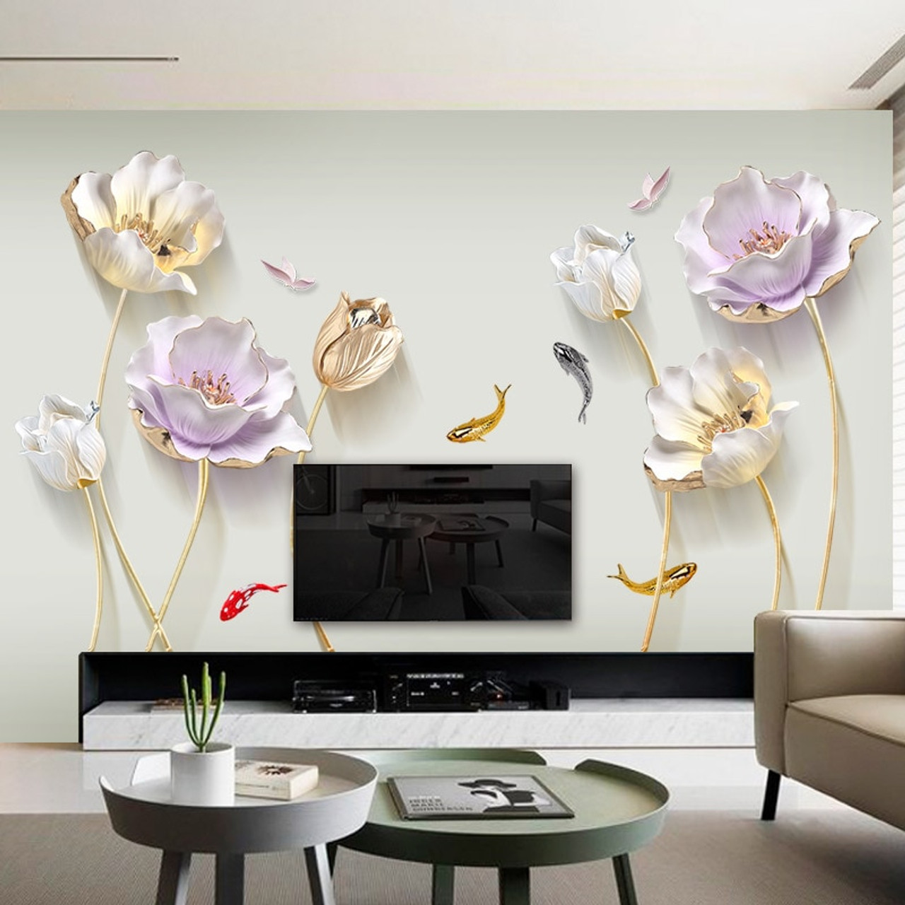 Chinese Style Flower 3d Wallpaper Wall Stickers Living Room Bedroom Bathroom Home Decor Decoration Poster Onshopdeals Com