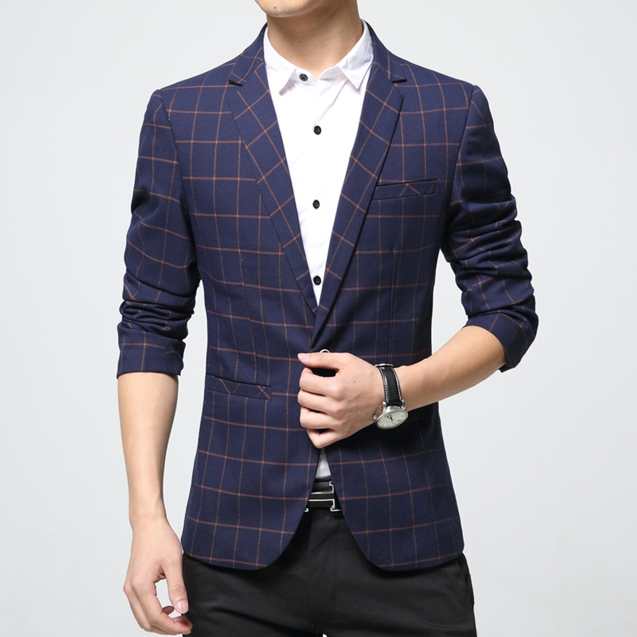 c38fc1c7d13c Mens Korean slim fit fashion cotton blazer Suit Jacket orange blue plaid  plus size M to ...