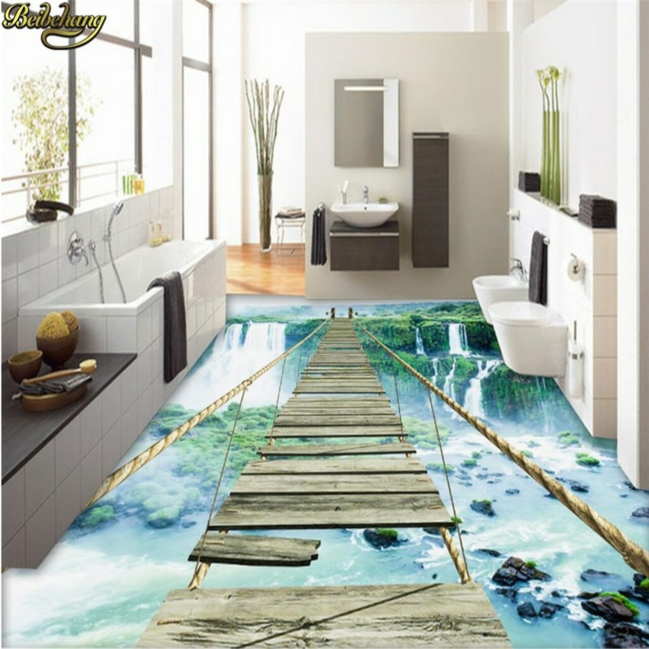 Custom Photo Wallpaper Floor Paintings Sticky Landscape Waterfall Adventure Rope Wooden Bridge 3d Floor