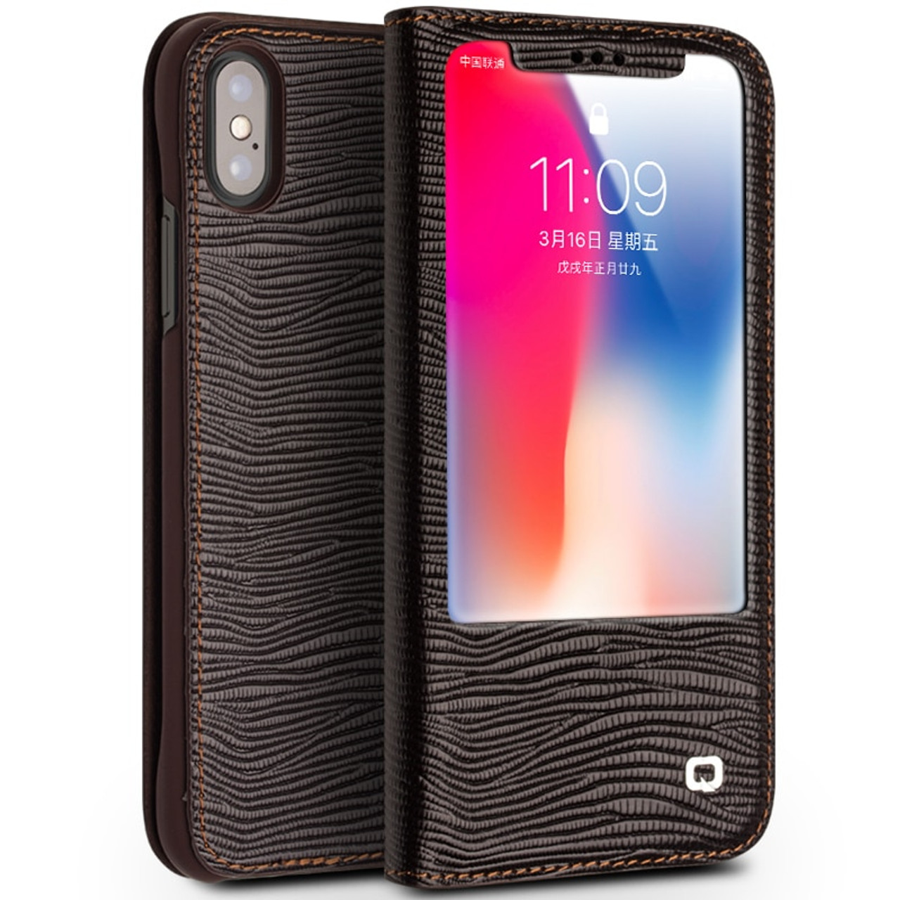 best website 82f1d 7f5f0 QIALINO for iPhone X Cases Smart View Flip Genuine Leather Window Cover for  iPhone X 10 TEN Case kickstand Function