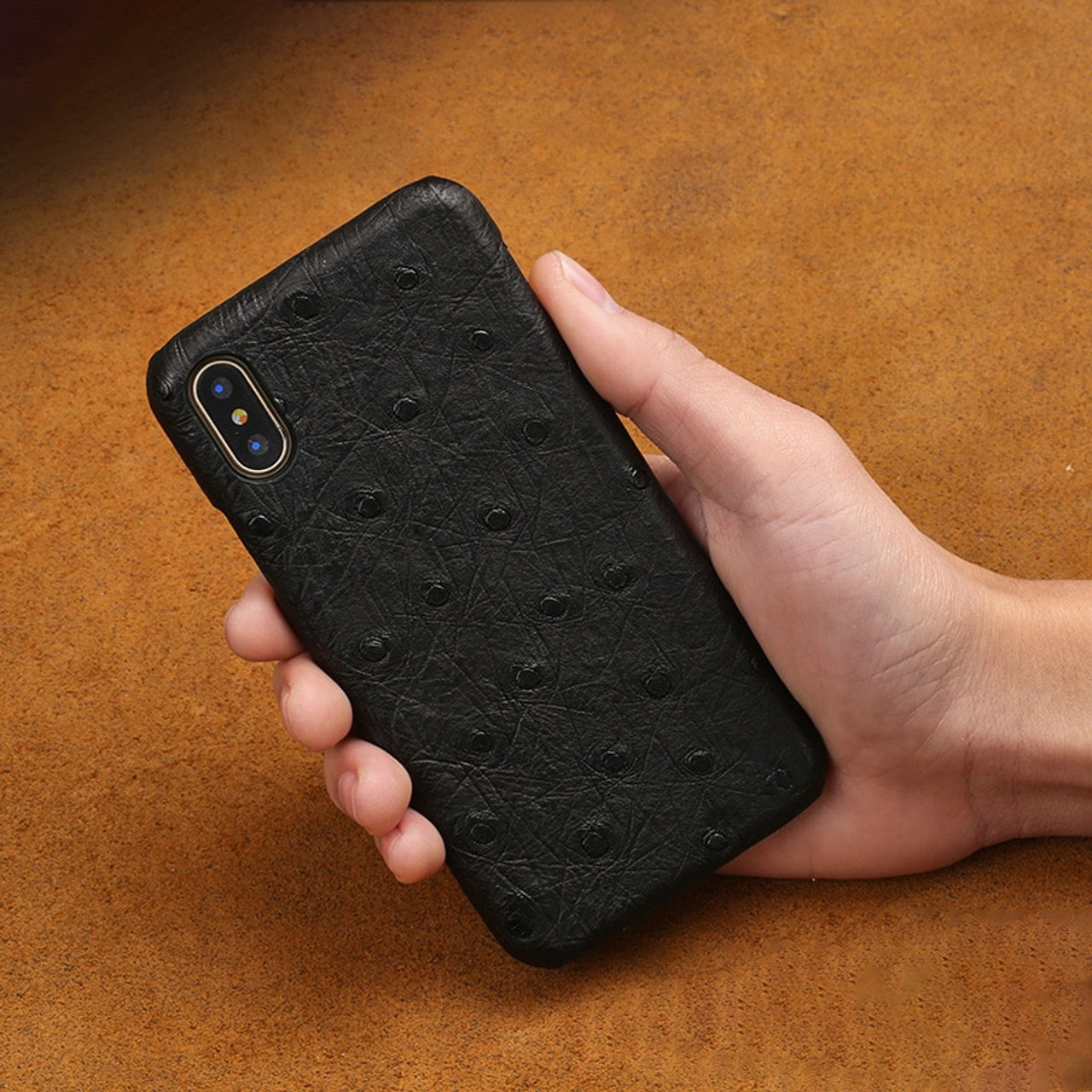 timeless design d4468 792a1 Natural Ostrich skin Phone case For iPhone X case Luxury Genuine Leather  Back cover For 6 6S 7 8 Plus 5 5S SE cases