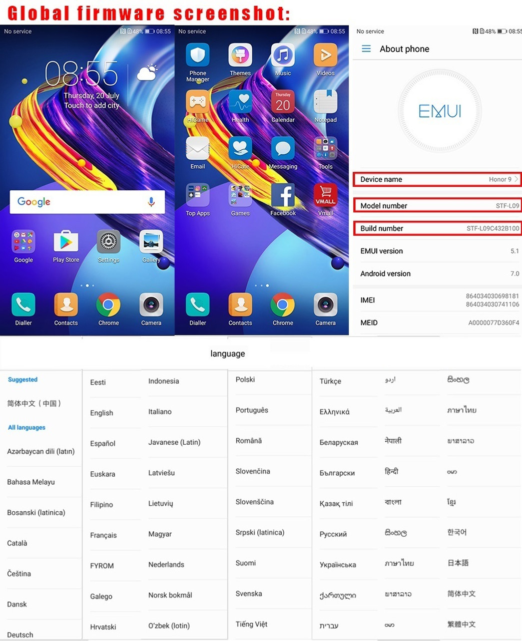 International Huawei Honor 9 4G/6G RAM 64G/128G ROM Octa Core Kirin 960  Mobile Phone 5 15'' Android 7 0 Quick Charge S