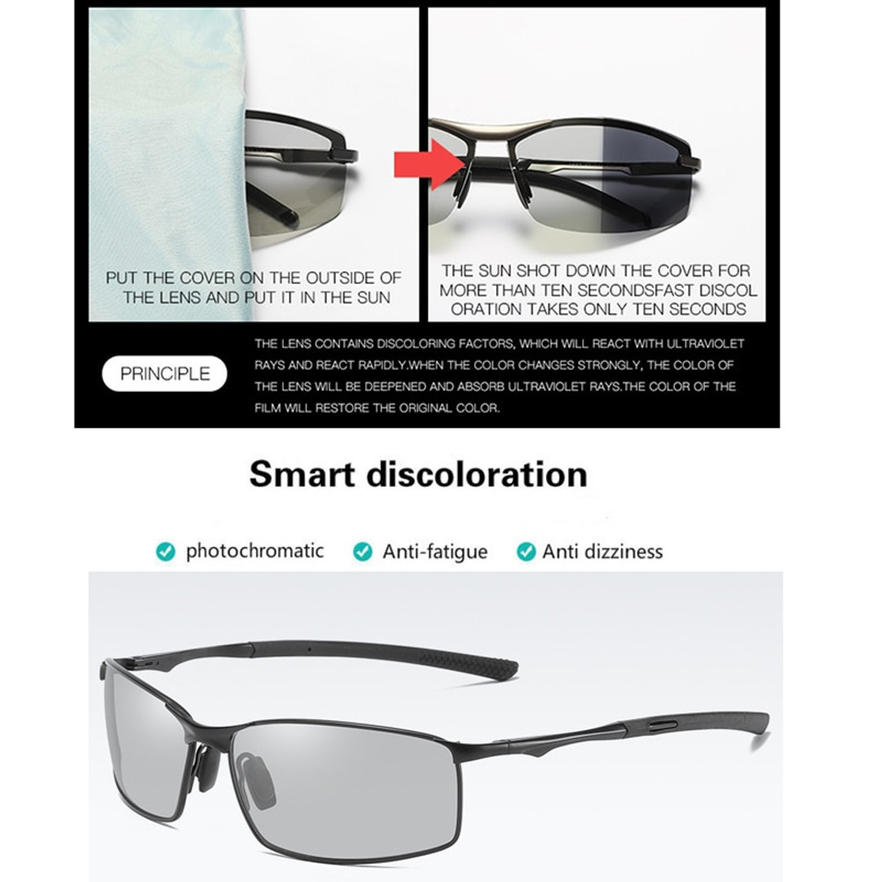 Men Photochromic Sunglasses Polarized Eyewear Transition Lens Driving Glasses