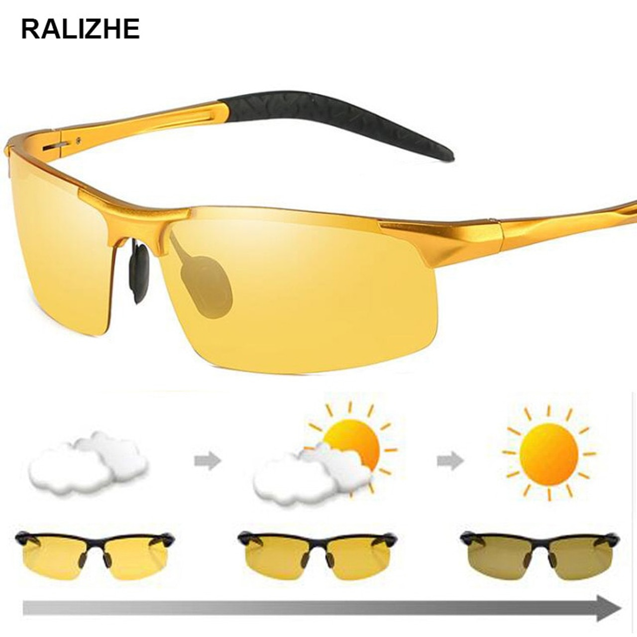 cdaef1501d8d4 High Quality Men Day Night Vision Glasses Polarized Photochromic  Discoloration Lens Anti-glare UV400 Yellow ...