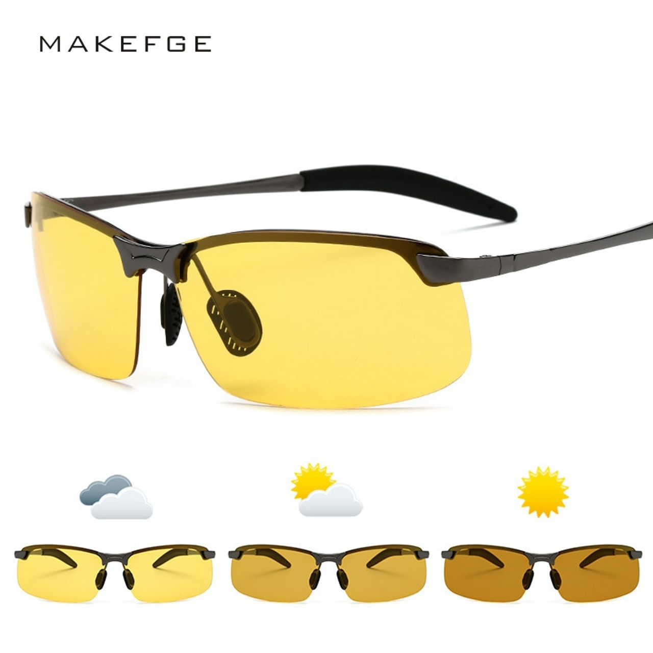 2019 New Photochromic Sunglasses Men Polarized Goggle Male Change Color Sun Glasses Day Night Vision Driving Uv400 Yellow Shades Onshopdeals Com