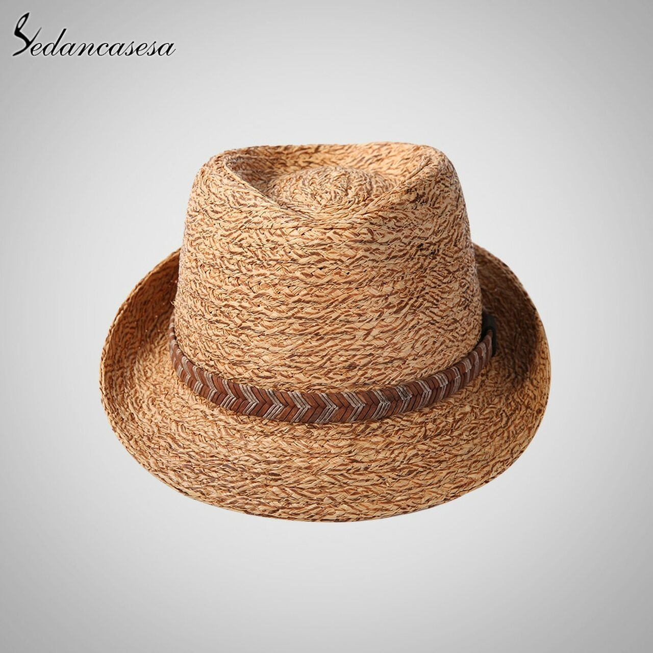 dac0d7f5 ... Sedancasesa Raffia Straw Fedora Hat Male Classic Summer Beach Trilby Sun  Hats For Men Women UV ...