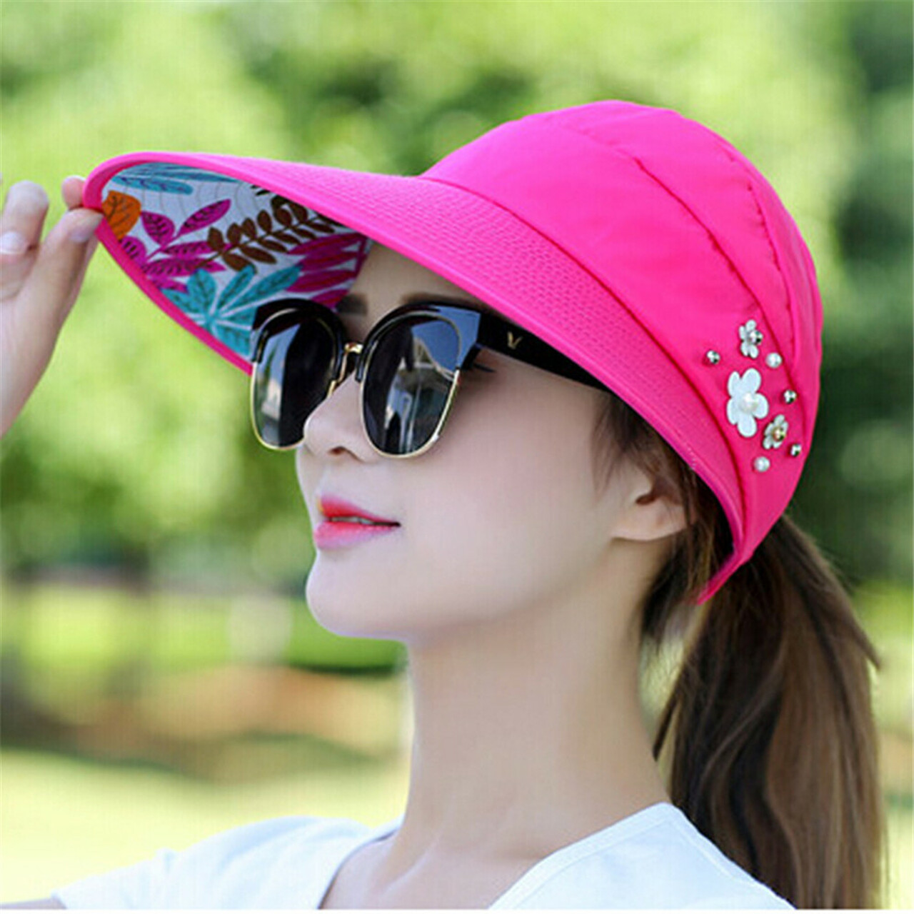 5efdaf82a49e7 ... Sun Hats for Women Visors Hat Fishing Fisher Beach Hat UV Protection Cap  Black Casual Womens ...