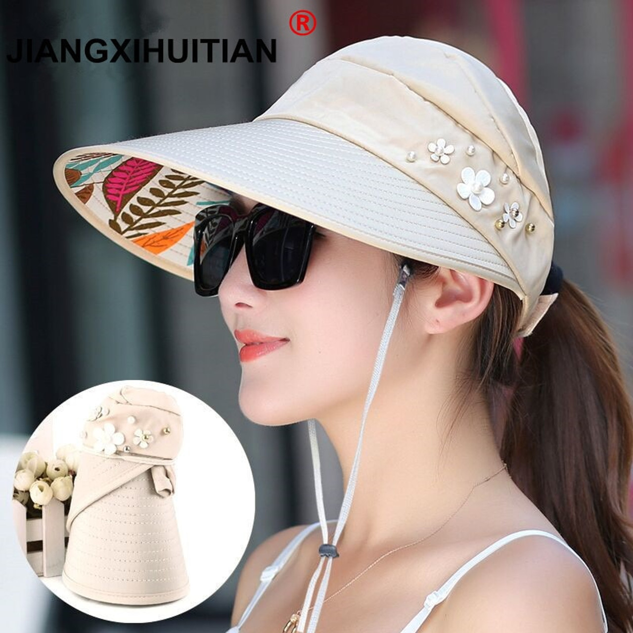 a4578133a 2018 Hot 1PCS women summer Sun Hats pearl packable sun visor hat with big  heads wide brim beach hat UV protection female cap