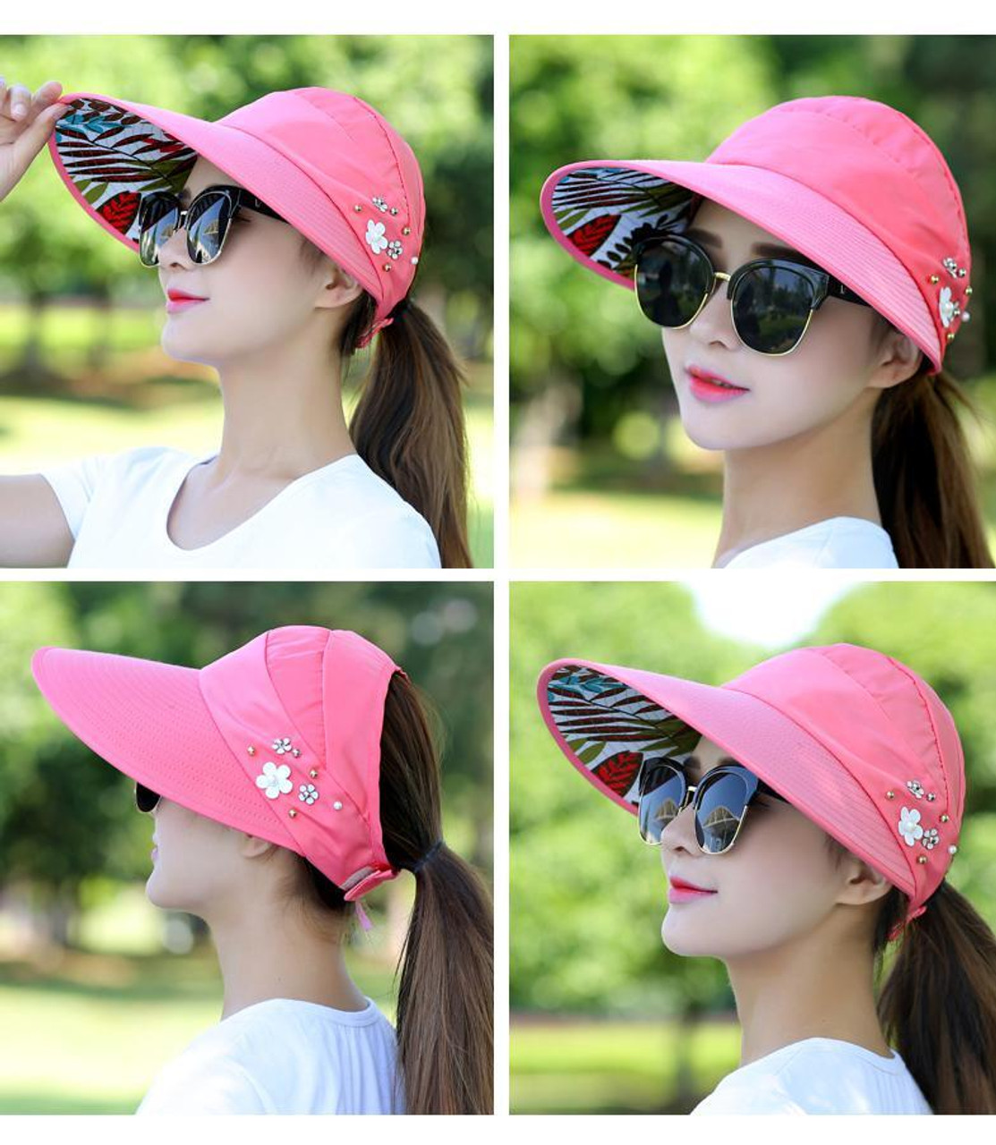 2e26f0312 2018 Hot 1PCS women summer Sun Hats pearl packable sun visor hat with big  heads wide brim beach hat UV protection female cap