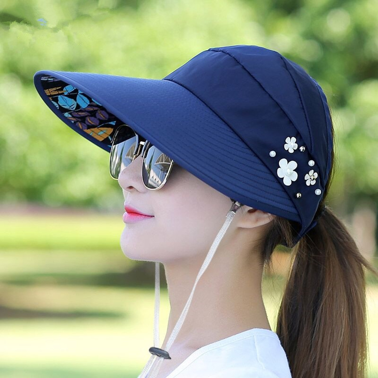 6bcac2f05 2018 Hot 1PCS women summer Sun Hats pearl packable sun visor hat with big  heads wide brim beach hat UV protection female cap