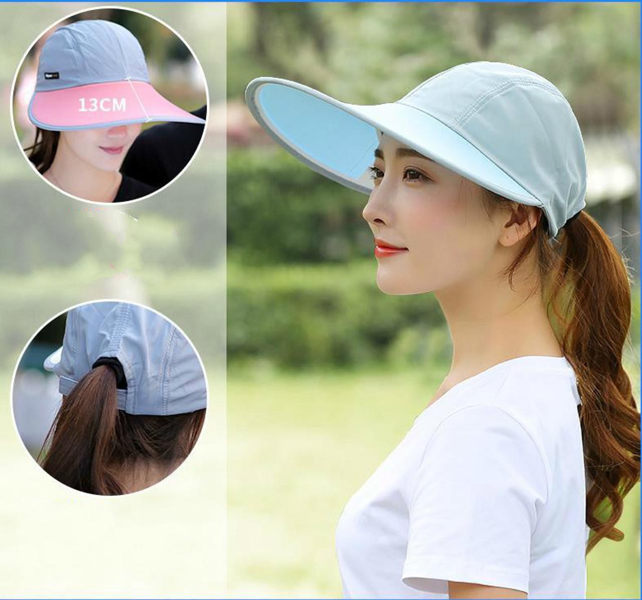 c0f12ac2 ... Summer Hat For Lovers Women Folding Foldable Uv Protection Sun Hat Visor  Suncreen Floppy Cap Chapeau ...