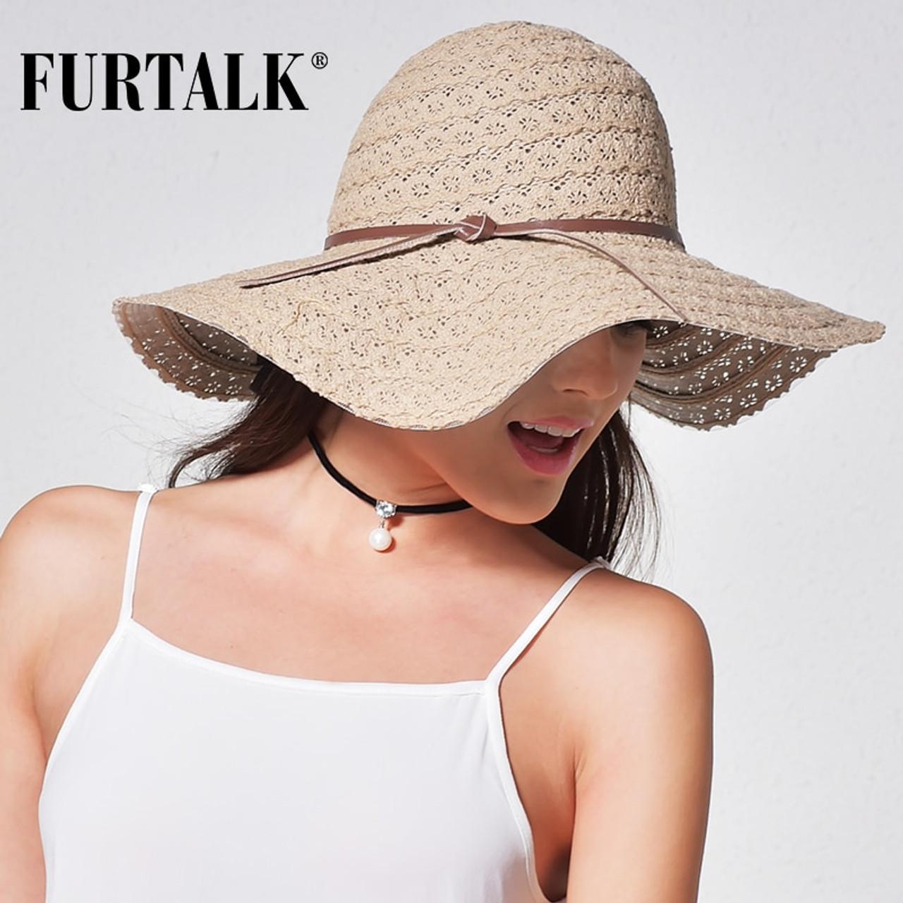 7a05f40c5239 ... FURTALK Summer Hats for Women Fashion Design Women Beach Sun Hat  Foldable Brimmed Straw Hat ...