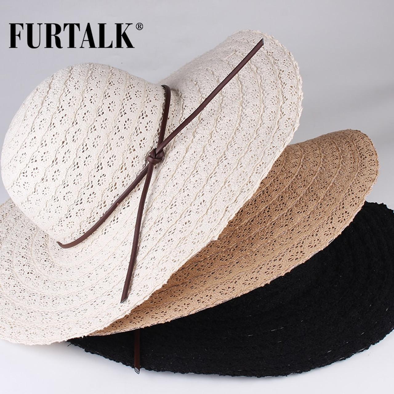 f21b4756cdef1e ... FURTALK Summer Hats for Women Fashion Design Women Beach Sun Hat  Foldable Brimmed Straw Hat ...