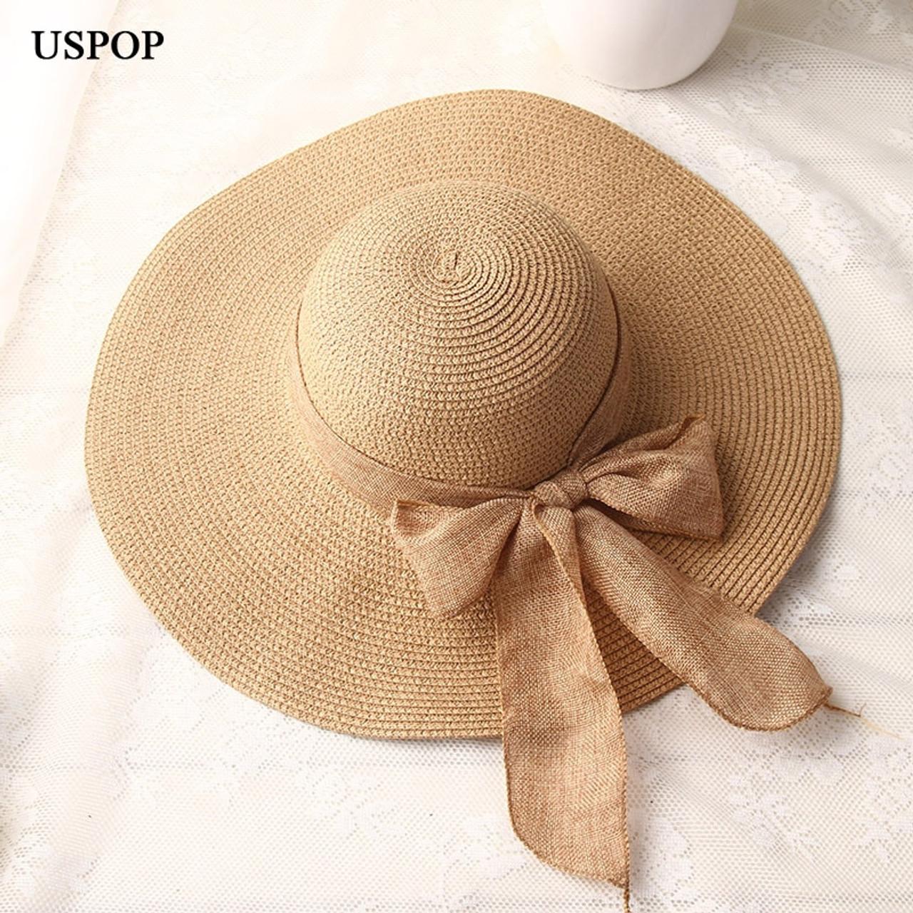 81433761 USPOP 2019 fashion women sun hats hand made straw hat female ribbon  bow-knot wide ...