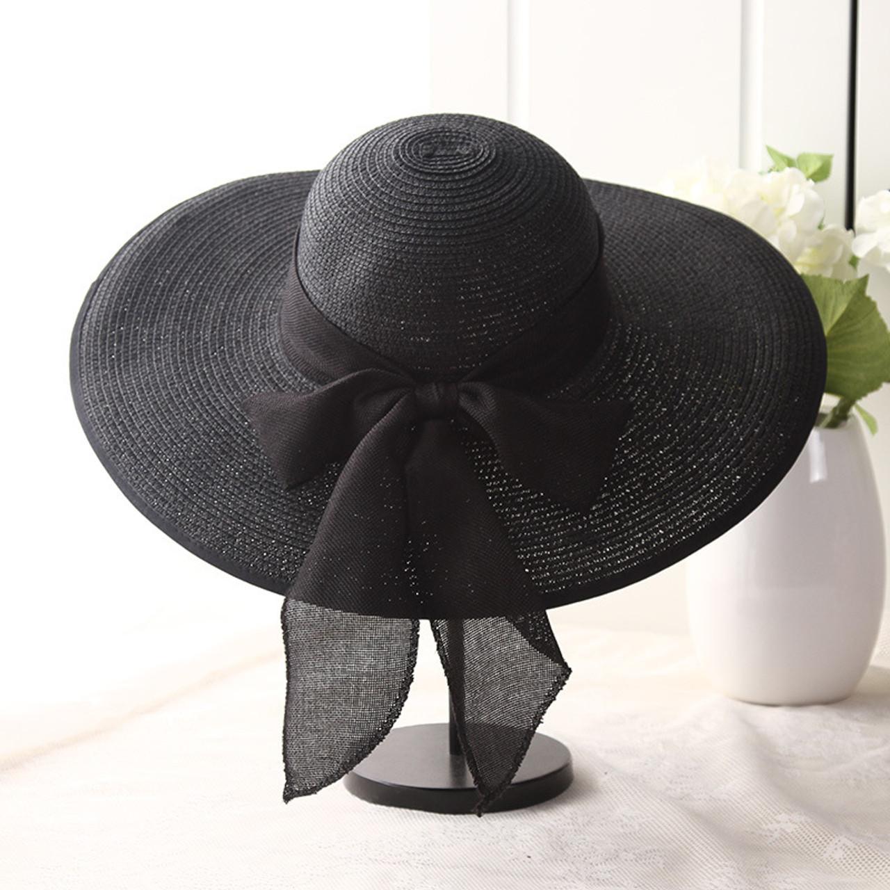 4a4dbba6 ... USPOP 2019 fashion women sun hats hand made straw hat female ribbon  bow-knot wide ...