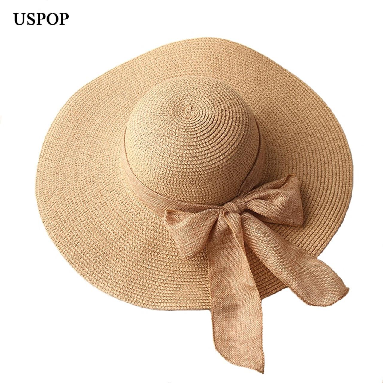 5151410b46965 ... USPOP 2019 fashion women sun hats hand made straw hat female ribbon  bow-knot wide ...