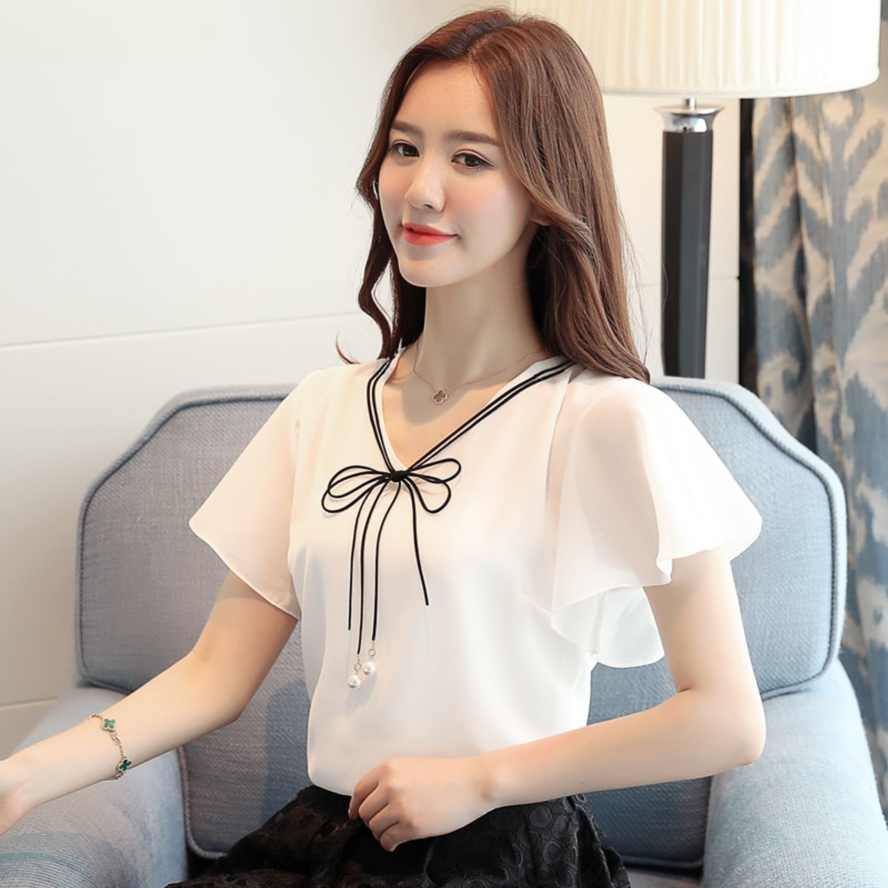 2c2bb3b030259 Dingaozlz M-4XL 2019 New Fashion Plus size Women Tops Elegant Chiffon Shirt  Casual clothing Bow tie Short sleeve Summer blouse