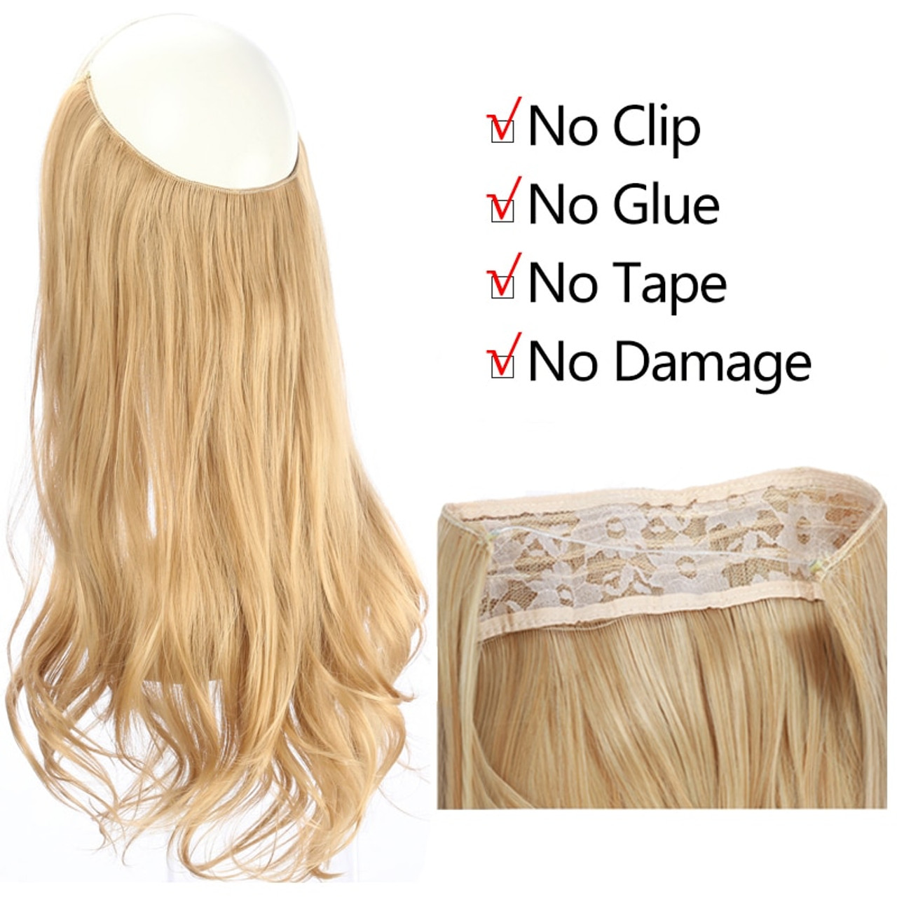 14 16 18 120g Wave Halo Hair Extensions Invisible Ombre Bayalage Synthetic Natural Flip Hidden Secret Wire Crown Grey Pink Synthetic Extensions