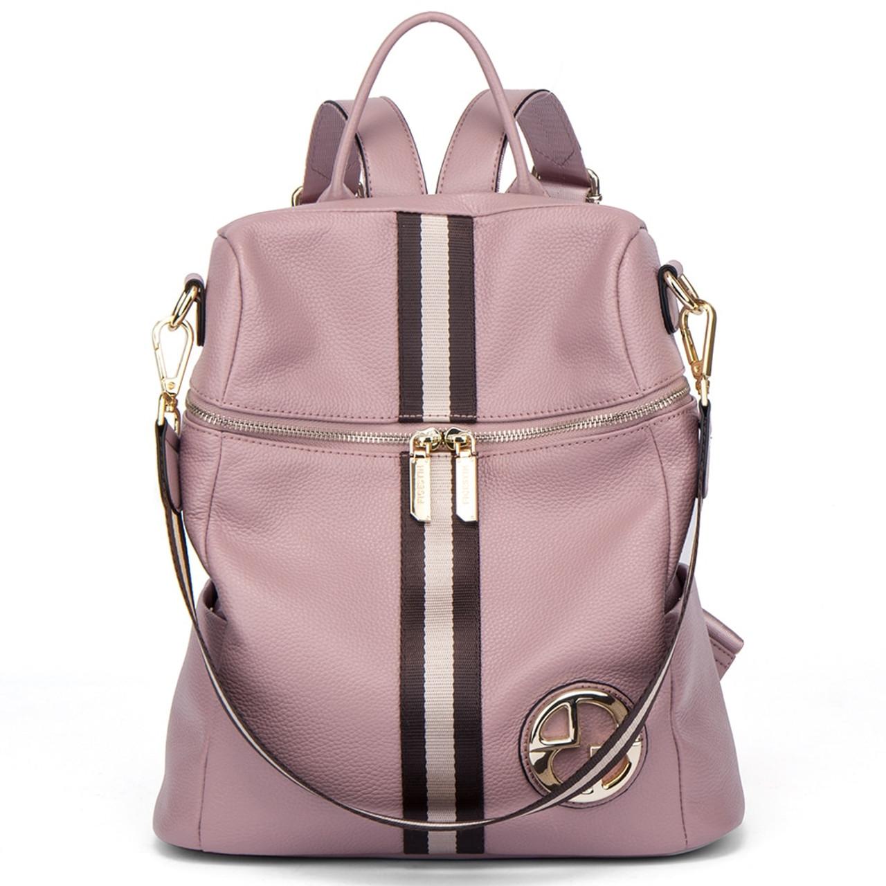 3629370df0e BOSTANTEN Women Backpacks Genuine Leather Backpack Female School Bag Pink  Stripe Multifunctional Leather Back pack on Shoulder