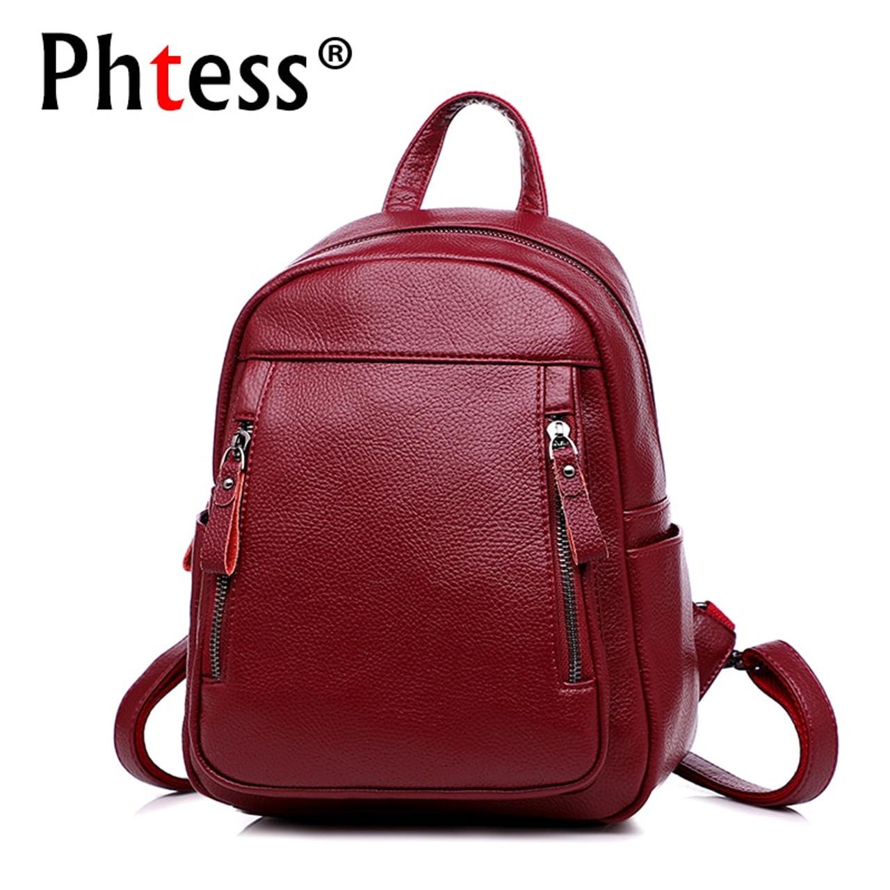 3658d8b8b87 2019 women leather backpacks vintage female shoulder bags sac a dos ...