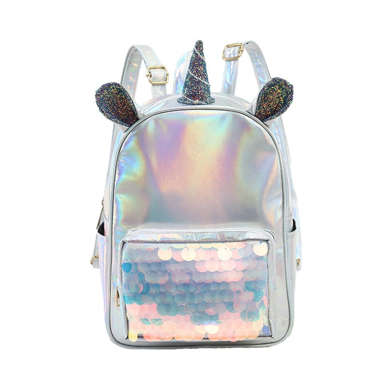 d1bfeea1577 New 2019 Laser Leather Mini Backpack For Women Sequins Unicorn Mochila  Girls Travel Back Bags Silver Fashion School Bagpack