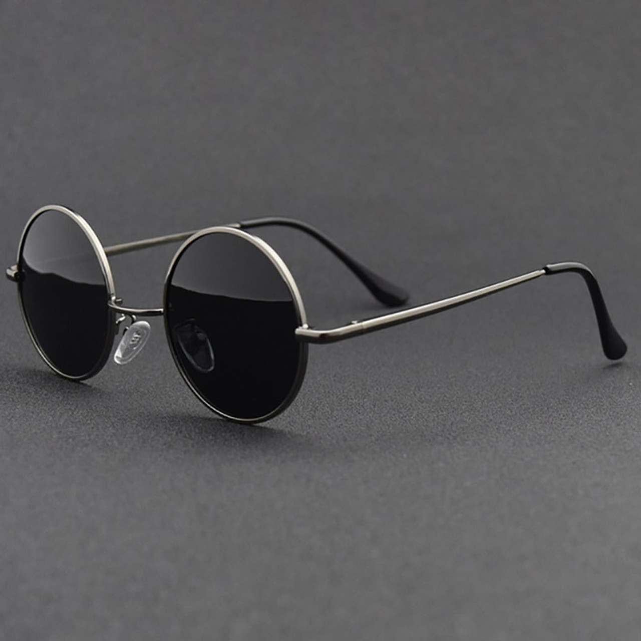 08633a638e77 ... Retro Classic Vintage Round Polarized Sunglasses Men Brand Designer Sun Glasses  Women Metal Frame Black lens ...