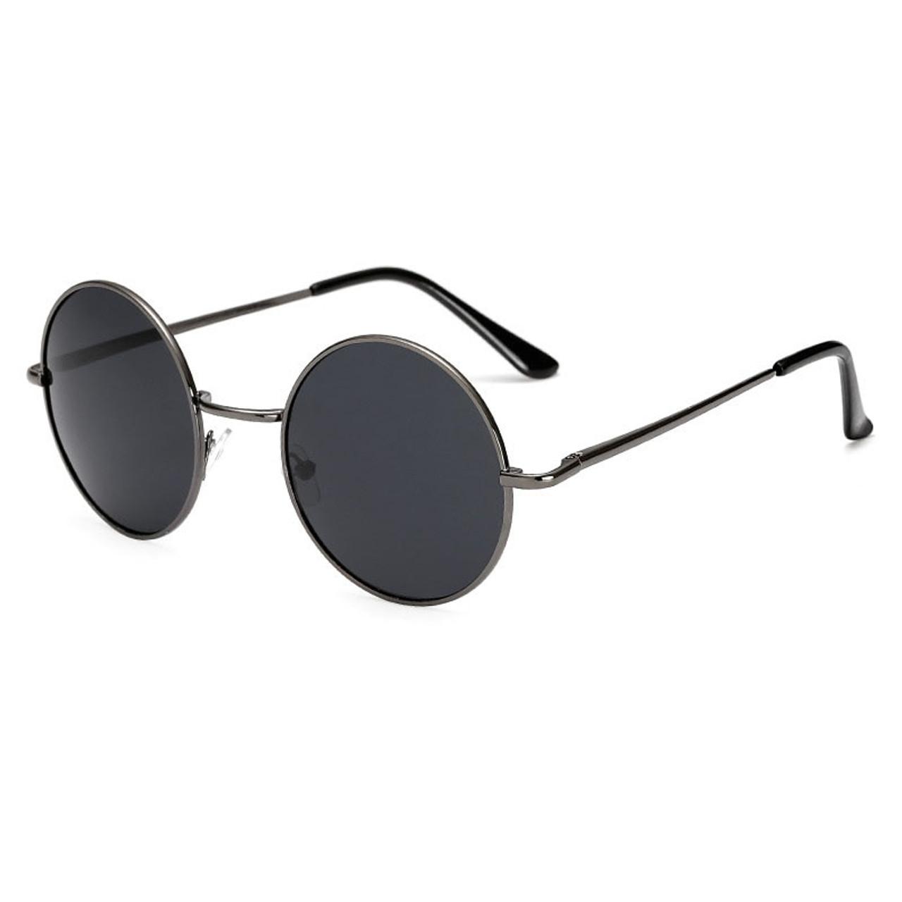 1fecc25d3e92 ... Retro Classic Vintage Round Polarized Sunglasses Men Brand Designer Sun  Glasses Women Metal Frame Black lens ...