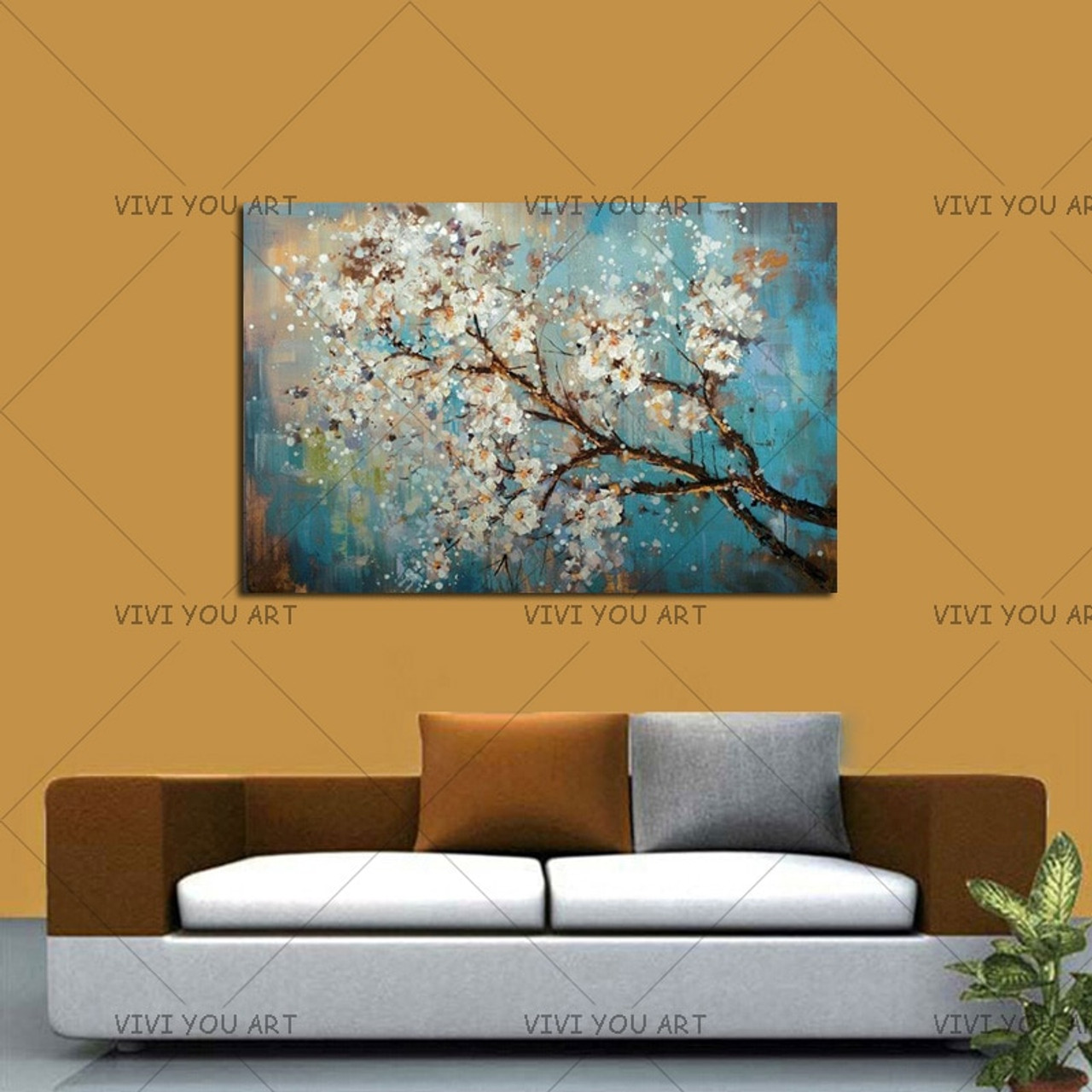 100 Handmade Large Flowers Wall Pictures Home Decorative Painting On Canvas White Plum Blossom Paintings