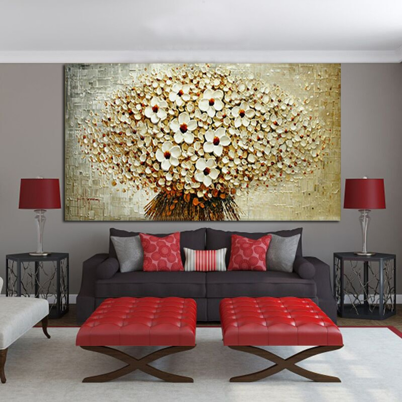 100 Handmade Modern Abstract Oil Painting On Canvas A Bunch Of Beige Flowers Modern Home Living Room Wall Decor Art Picture Onshopdeals Com