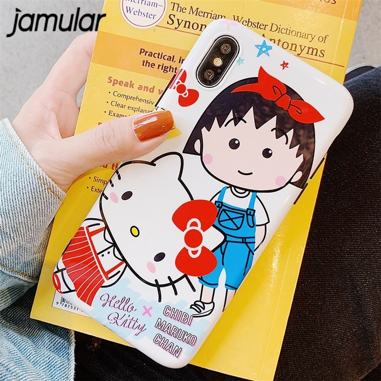 Jamular Cartoon Hello Kitty Phone Case For Iphone Xr Xs Max 6 6s X 8 7 Plus Sakura Momoko Chibi Maruko Soft Back Cover Fundas