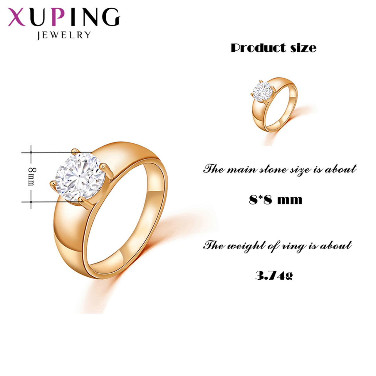 3c822dd34 ... Xuping Christmas Luxury Ring Popular Design Charm Style Girl Women Gold  Color Plated Jewelry Valentine's Day ...