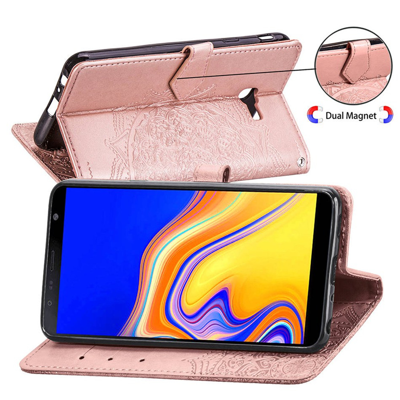 For Samsung Galaxy J4 Plus Leather Case On For Samsung J4 J6 Plus 2018 Cover Classic Style Flip Wallet Phone Cases Women Men Phone Bags & Cases