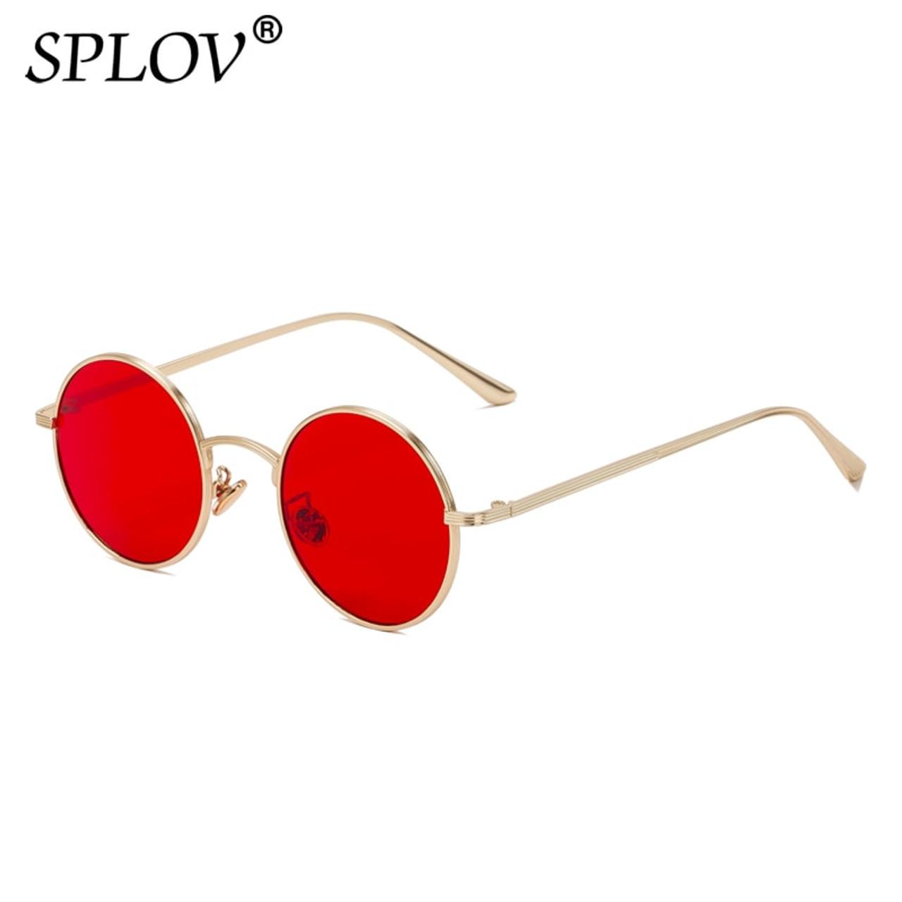 d9bd0a2583bd ... SPLOV Vintage Men Sunglasses Women Retro Punk Style Round Metal Frame  Colorful Lens Sun Glasses Fashion ...