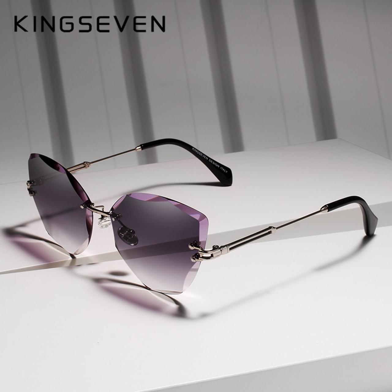 101b3c96dd47c KINGSEVEN DESIGN Fashion Lady Sun glasses 2019 Rimless Women Sunglasses  Vintage Alloy Frame Classic Brand Designer ...