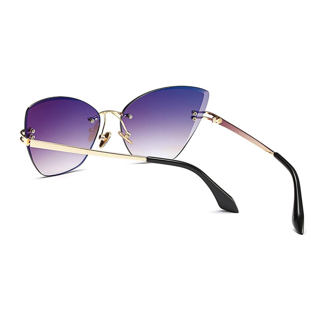 5296a8339 ... RSSELDN Fashion Rimless Cat Eye Sunglasses Women Brand Designer Clear  Lens Gradient Sun Glasses Female UV400 ...
