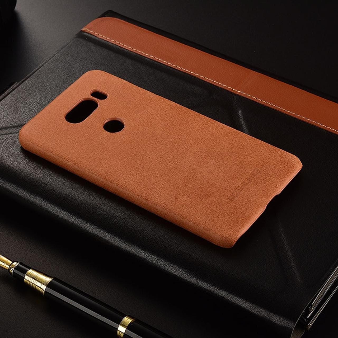 new style 224ef 959d6 for LG V30 / V30 Plus case KEZiHOME Frosted Genuine Leather Hard Back Cover  capa For LG V30 V30+ 6.0'' Phone cases