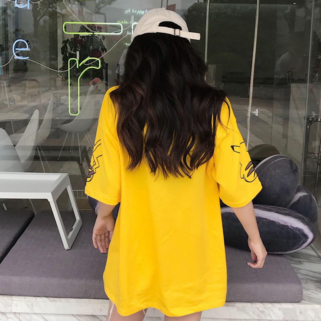 d2b5a3167f ... Harajuku Kawaii Cartoon Print Short Sleeve long T Shirt Tops Women  Summer Korean Fashion Yellow Cute ...