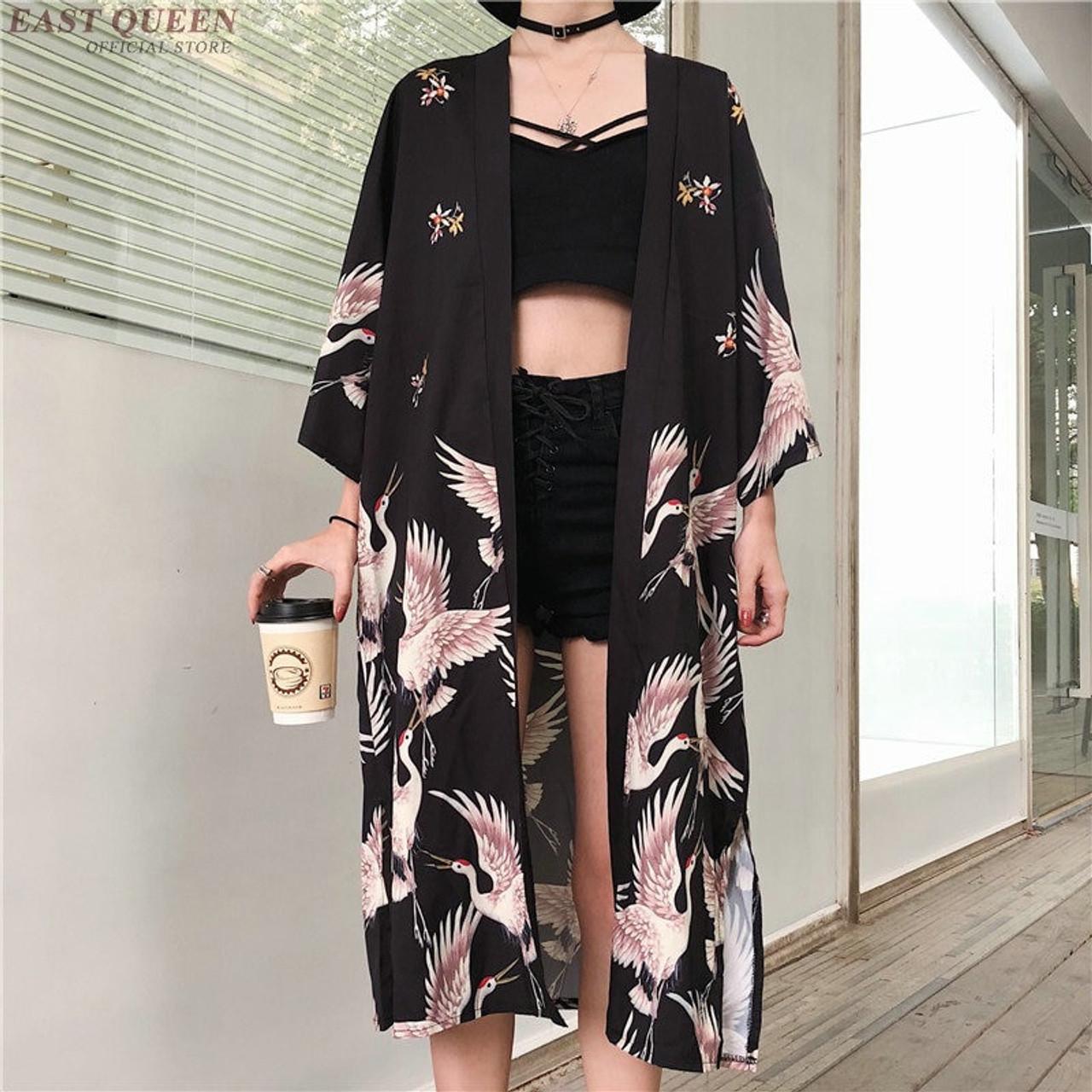 7b444fea1a7 Kimono cardigan Womens tops and blouses Japanese style streetwear female  women tops summer 2019 long shirt female black AA3973