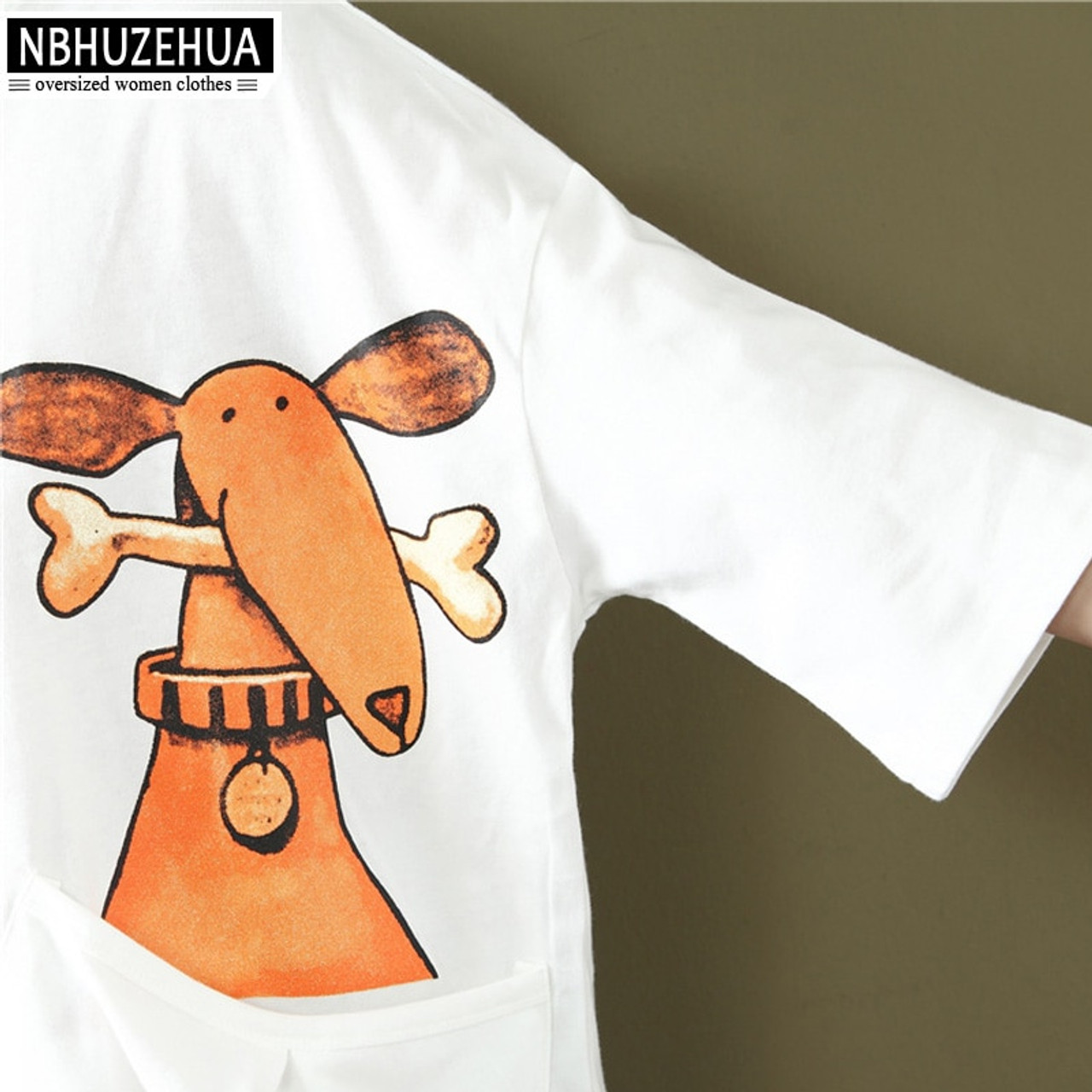 0fb2a8ece4 ... NBHUZEHUA A56 Women's Kawaii Funny T Shirts Cartoon Dog Print Women  Tops Summer Tshirt Plus Size ...