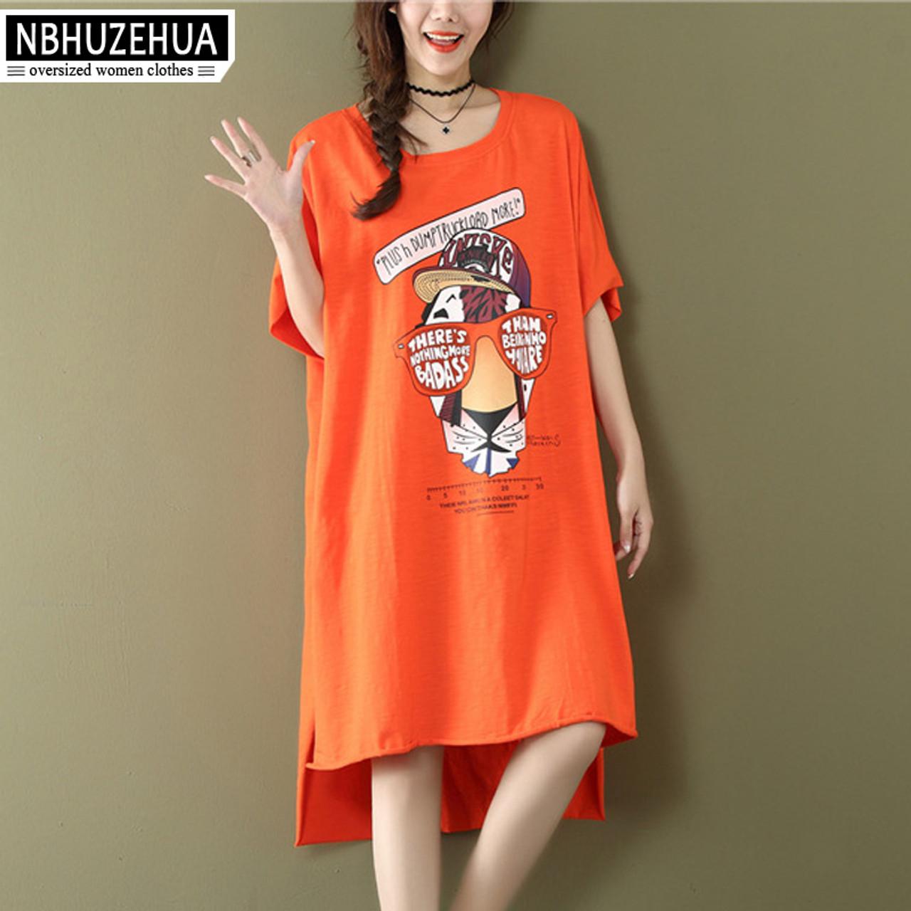 5d08b5042d NBHUZEHUA 7G689 Summer Long Women Tops Harajuku Kawaii Cartoon Printed  T-Shirt Big Size Loose ...