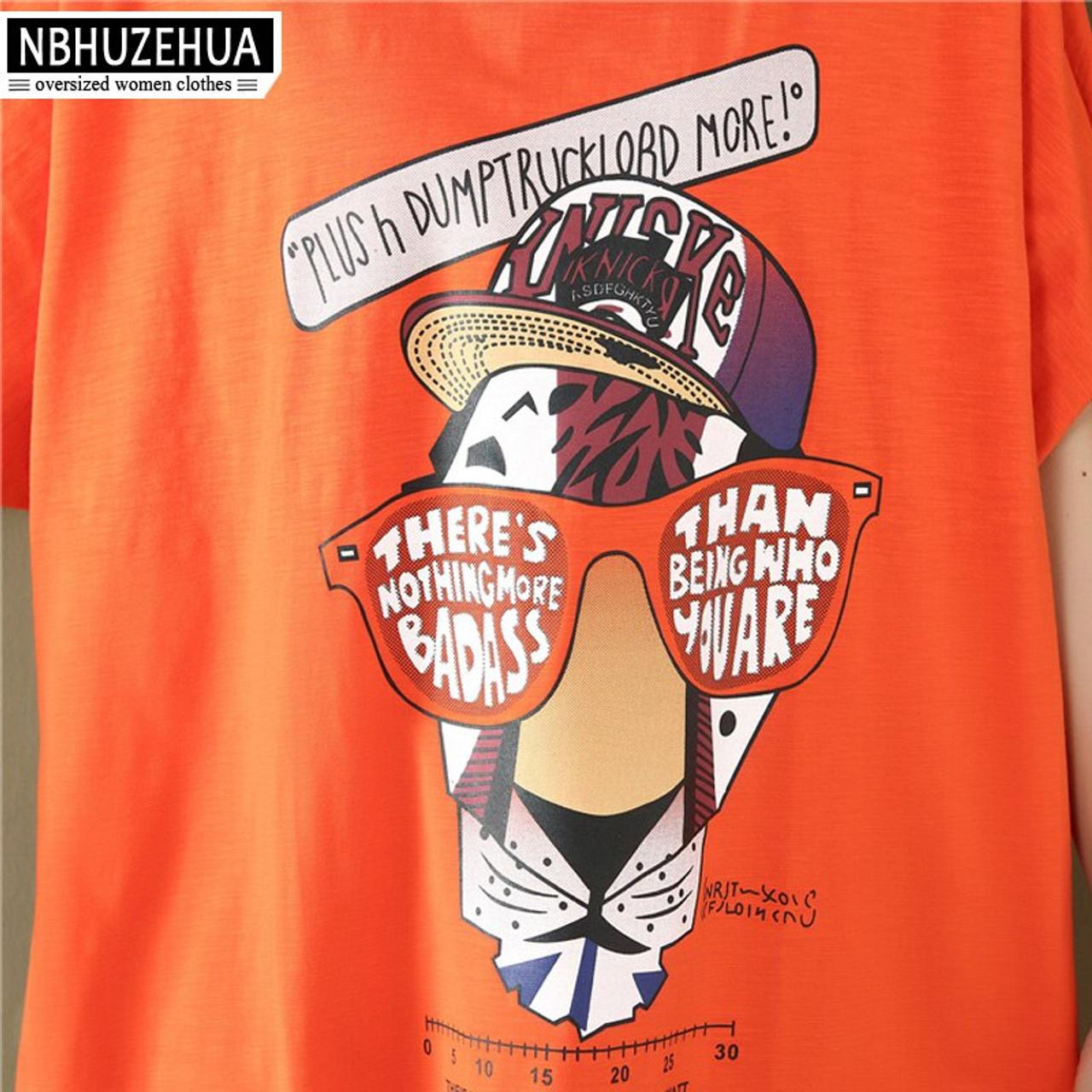 faf3c6fc1b ... NBHUZEHUA 7G689 Summer Long Women Tops Harajuku Kawaii Cartoon Printed  T-Shirt Big Size Loose ...